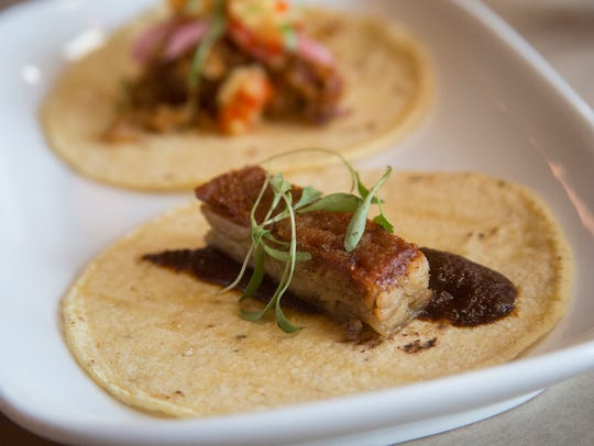 Justin Restaurant offers experimental tacos, like this