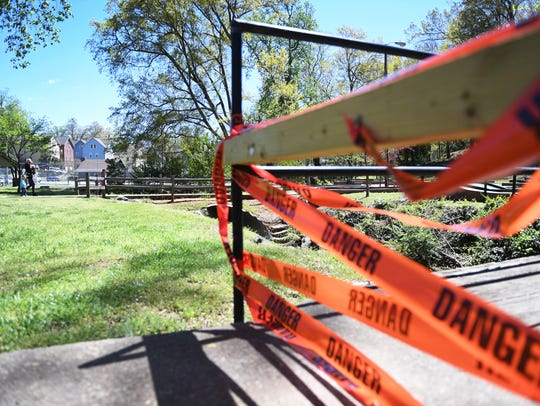 A bridge is closed for renovations in McPherson Park