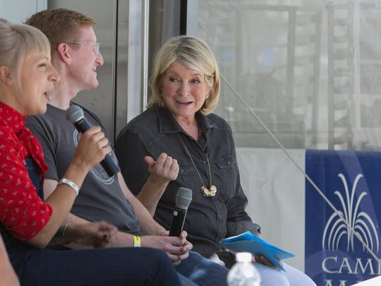 Martha Stewart, right, leads a panel discussion with