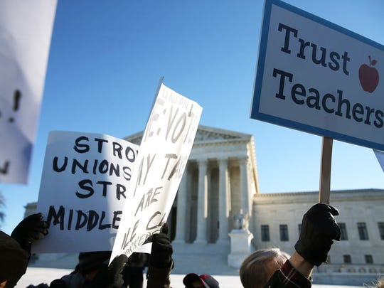 Demonstrators gathered outside the Supreme Court in January 2016, the last time it considered a major labor rights case.
