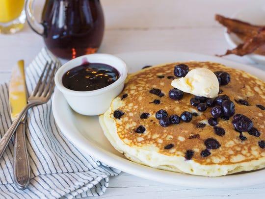 The Blueberry Hill pancakes at T.C. Eggington's.