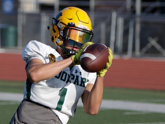 Christian Lancellotti catches the ball during Moorpark's practice on Wednesday. Lancellottihas 11 receptions for 200 yards and a touchdown in three games.