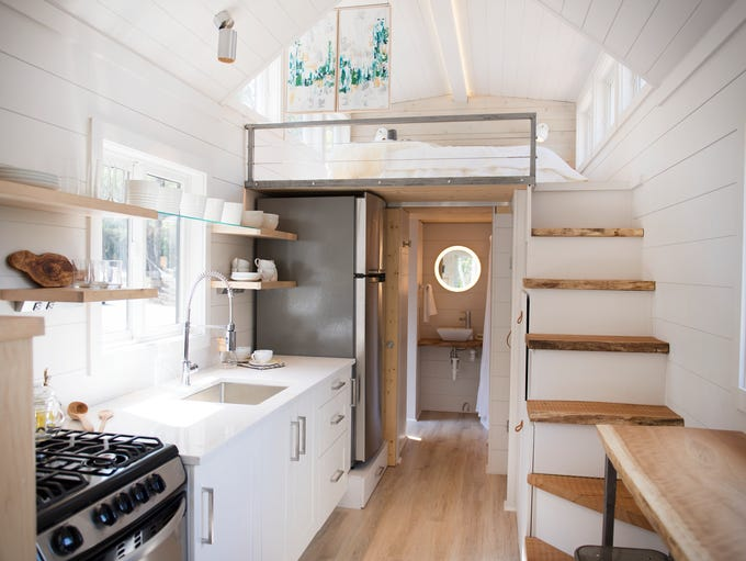 Inside a tiny home in the Lake Walk Community in Greer