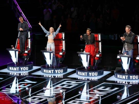 Adam Levine, Miley Cyrus, Jennifer Hudson, Blake Shelton