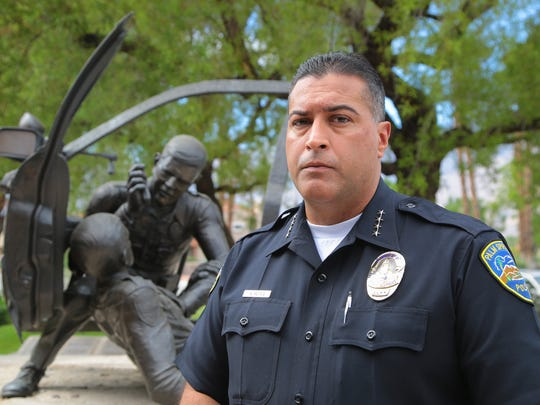 Police Chief Bryan Reyes is photographed next to the Palm Springs Police Officers' Memorial, September 12, 2017.