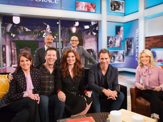 'Will & Grace' star Debra Messing, center, says she