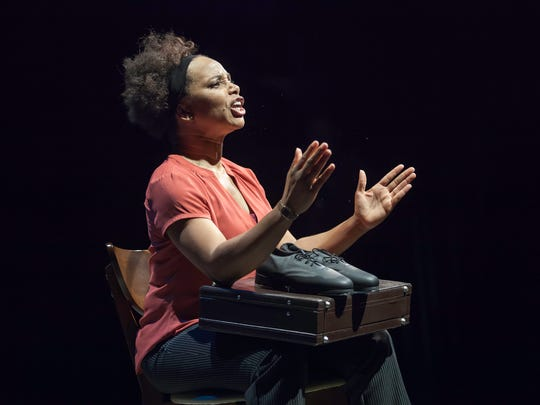 """Debra Walton plays all nine characters in the Playhouse in the Park production of Daniel Beaty's """"Mr. Joy."""" Walton gives a tour de force performance as she plays everything from an 11-year-old girl to an elderly woman to a 50-ish businessman. Directed by Nicole A. Watson, the show runs through Oct. 22 in the Playhouse's Shelterhouse Theatre."""