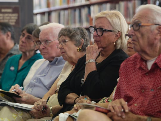 Over a hundred people listened to City Council candidates at a public forum held at the Palm Springs Public Library on Sunday, Oct. 1, 2017.
