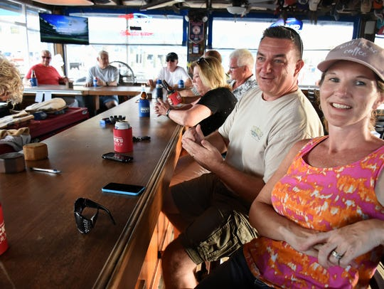 Eileen and Kerrick White of Marco Island hang out.