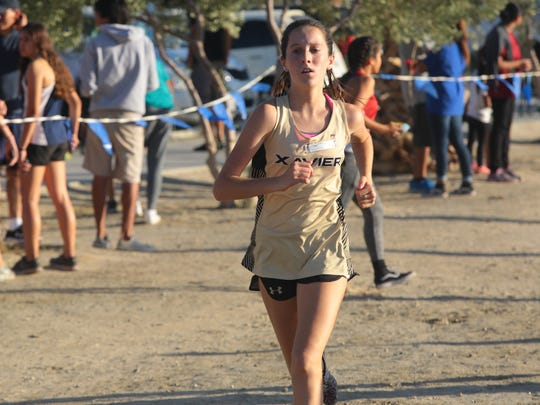 Molly May finishes second in the second Desert Valley League cross country meet of the season, Wednesday, October 11, 2017.