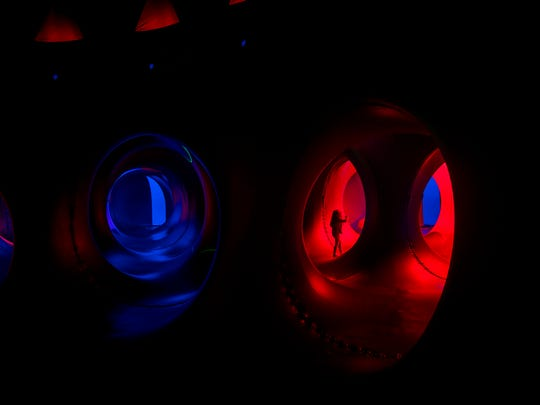 The Architects of Air luminarium, shown here from the inside, is a series of domes and curved walls that create tunnels for visitors to explore.