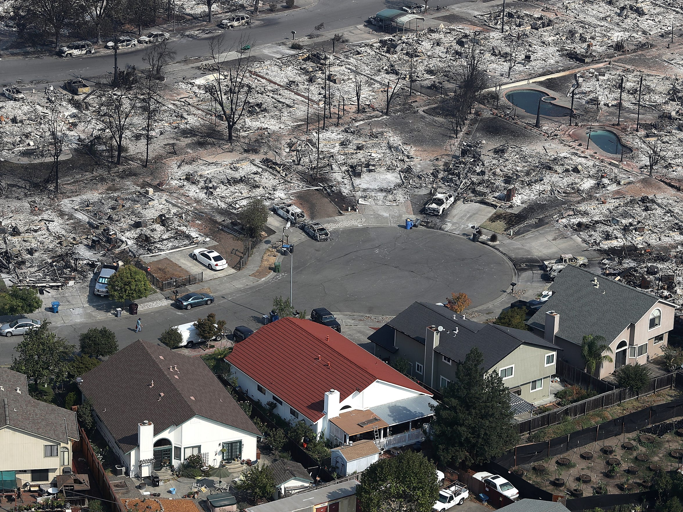 Oct. 11, 2017: An aerial view of homes that were destroyed by the Tubbs Fire in Santa Rosa, California.