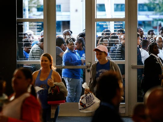 Fans wait to attend Memphis Madness at the FedExForum Wednesday, Oct. 12, 2017.