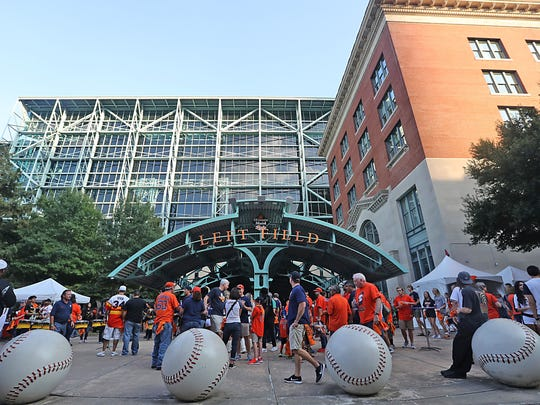 ALCS Game 1: Yankees at Astros - Fans start to file in Minute Maid Park.