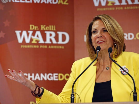 FILE - In this Aug. 30, 2016, file photo, former state Sen. Kelli Ward concedes to Sen. John McCain, R-Ariz., during her primary election night party in Scottsdale, Ariz. President Donald Trump's former chief strategist Steve Bannon is boosting multiple challengers to GOP incumbents and the party's preferred candidates in next year's midterm elections (David Kadlubowski/The Arizona Republic via AP)/The Arizona Republic via AP)