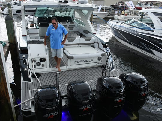 File: This 43-ft. Formula is powered by four 400-hp. outboard engines and was at a previous Marco boat show.