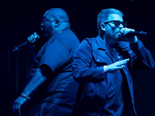 Killer Mike (L) and El-P of Run The Jewels perform onstage on day 3 of FYF Fest 2017 at Exposition Park on July 23, 2017 in Los Angeles.