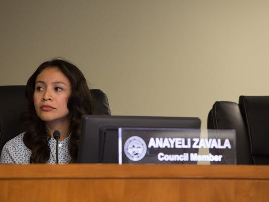 Desert Hot Springs City Council member Anayeli Zavala at a previous Council meeting.