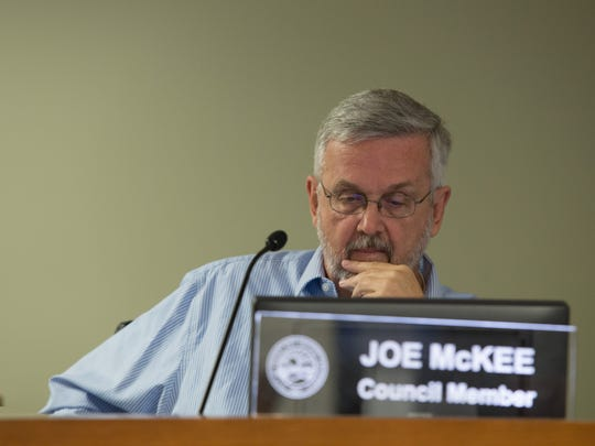 Desert Hot Springs City council member Joe McKee at a previous meeting.