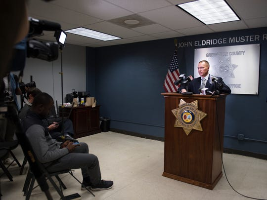Greenville County Sheriff Will Lewis holds a press conference and admits to having an affair, but denies sexual assault allegations, to the media at the Law Enforcement Center on Thursday, October 19, 2017.