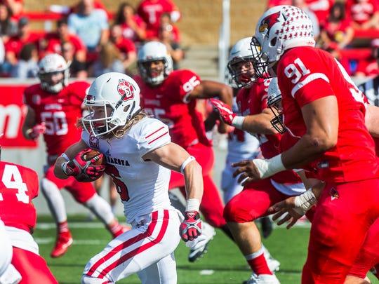 South Dakota wide receiver Kody Case (6) runs the ball