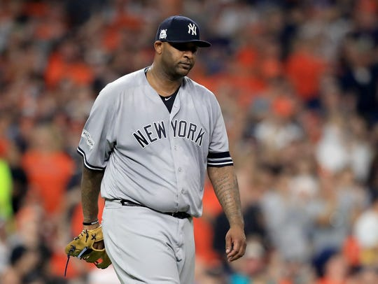 HOUSTON, TX - OCTOBER 21:  CC Sabathia #52 of the New