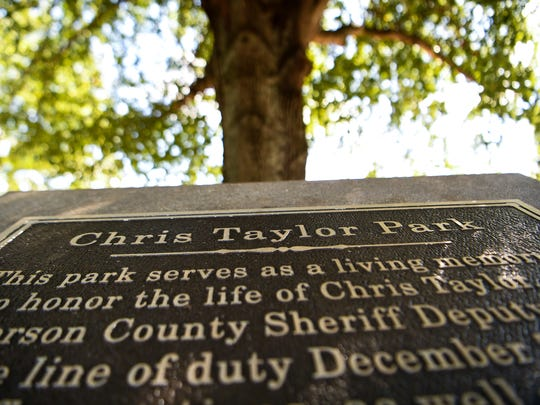 Memories in Anderson  What's in a name? How about Chris Taylor, a beloved Anderson County Sheriff Deputy who died in the line of duty. Many come to the walking track around the pond, next to Kid Venture, sometimes to feed the ducks.