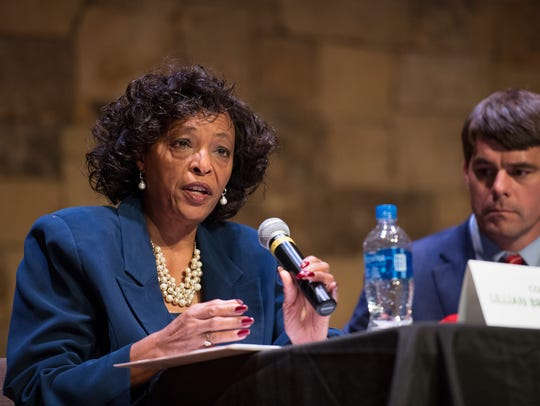 Lillian Brock-Flemming answers a question during a