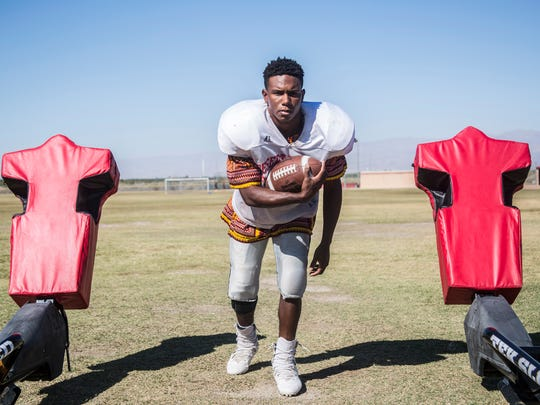 Desert Mirage High School Player Manny Ridge is photographed in Thermal on October 25, 2017.