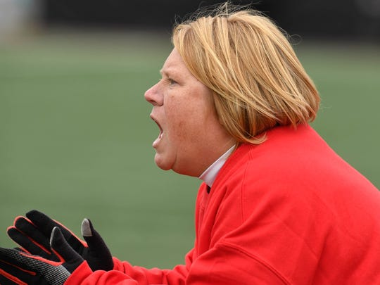 Mater Dei's head coach Amy Weber as the Mater Dei Wildcats play the Wheeler Bearcats in the Class 1A Girls Indiana High School Athletic Association Soccer State Finals at Michael A. Carroll Stadium in Indianapolis Saturday, October 28, 2017.