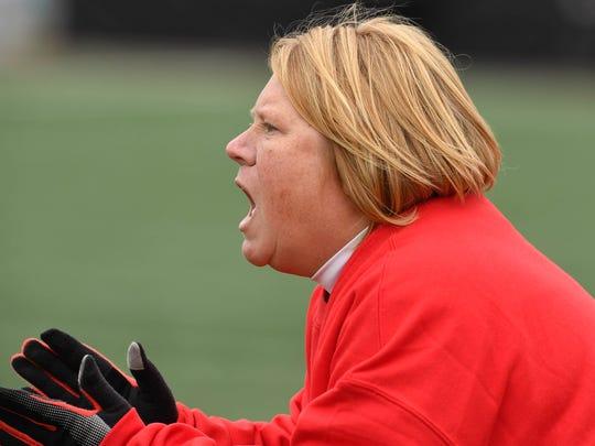 Mater Dei's head coach Amy Weber as the Mater Dei Wildcats