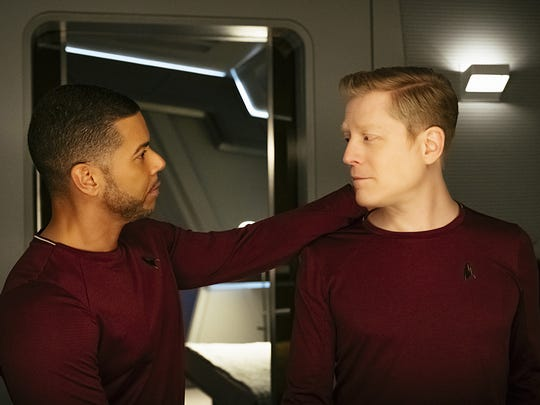 In 'Star Trek: Discovery,' Rapp, right,  plays Lt. Paul Stamets, the first openly gay character in the franchise. Wilson Cruz plays his partner.