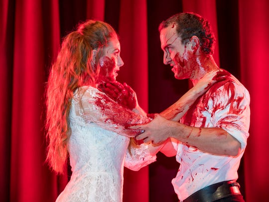 "Cheyenne Breshears, left, and Michael Seitz in College of the Sequoias fall musical ""Bloody Bloody Andrew Jackson,"" a musical about the President."