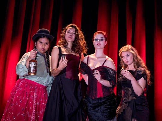 "Tamara Quipse, left, Jenna Perez, Becka Cole and Jaylin Chanelle Hensley in College of the Sequoias fall musical ""Bloody Bloody Andrew Jackson,"" a musical about the President."
