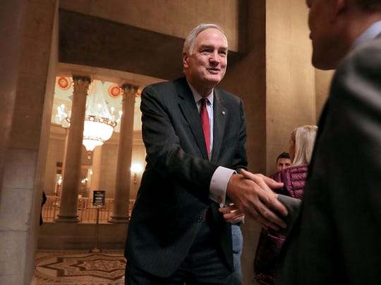 Sen. Luther Strange greets Sen. James Lankford before heading into a meeting at the U.S. Capitol on Nov. 9, 2017.