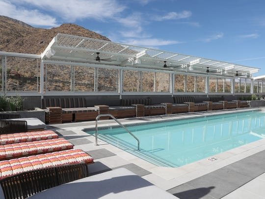 The rooftop pool at the top of the new Kimpton Rowan Hotel in downtown Palm Springs.