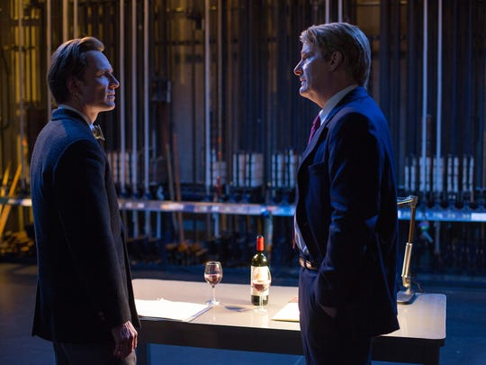 "In this image released by Universal Pictures, Michael Fassbender, left, and Jeff Daniels appear in a scene from, ""Steve Jobs."" (Francois Duhamel/Universal Pictures via AP)"