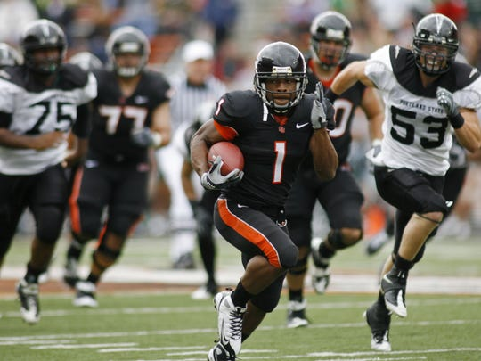 Jacquizz Rodgers had three 1,000-yard seasons and is second on OSU's career rushing list with 3,877 yards.