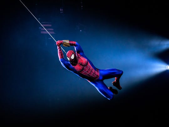 """Spider-Man swings to the rescue in """"Marvel Universe Live! Age of Heroes,"""" coming to the BMO Harris Bradley Center this weekend."""