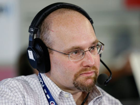 New York Times reporter Glenn Thrush talks with Julie Mason while recording an episode of 'The Press Pool' at Quicken Loans Arena on July 20, 2016 in Cleveland, Ohio. At the time of the recording, Thrush was working at Politico.