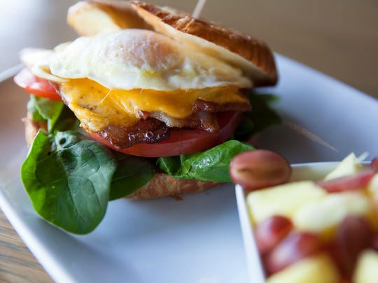 A croissant sandwich is served at RELM Wine & Bistro Bar in Camarillo.