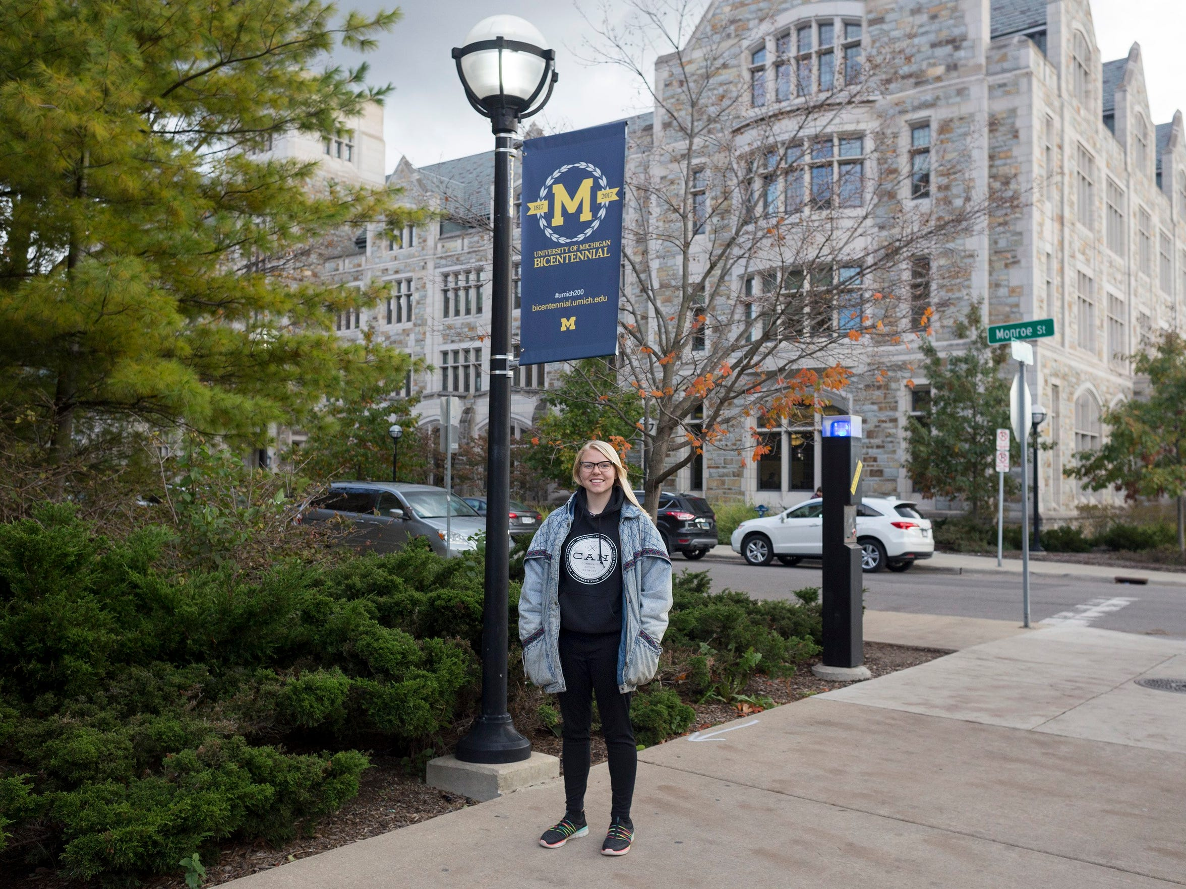 University of Michigan student Libby Gazley on campus in Ann Arbor on Wednesday, Oct. 25, 2017.  Gazley held down two jobs while studying for a social work degree.
