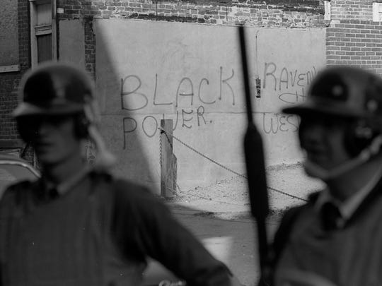 Public statements on the wall defy the authorities who brought the National Guard into Wilmington when riots broke out after Dr. Martin Luther King Jr. was killed.