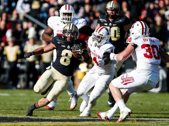 Purdue's Markell Jones runs the ball during the 93rd playing of the Old Oaken Bucket game at Ross-Ade Stadium in West Lafayette, Ind. on Saturday, November 25, 2017.