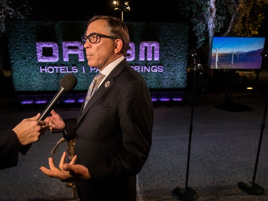 Palm Springs Mayor Robert Moon at the groundbreaking ceremony for the what will be the DREAM Hotel in Palm Springs.
