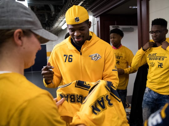 Nashville Predators defenseman P.K. Subban signs a
