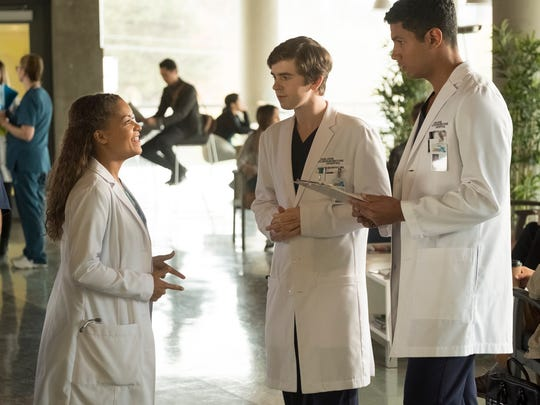 Antonia Thomas Freddie Highmore and Chuku Modu are on the surgical team in 'The Good Doctor.'