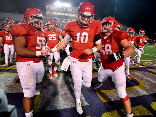 Brentwood Academy's Gavin Schoenwald (10) reacts after their Division II-AAA state championship victory against MBA at Tucker Stadium in Cookeville, Tenn., Saturday, Dec. 2, 2017.