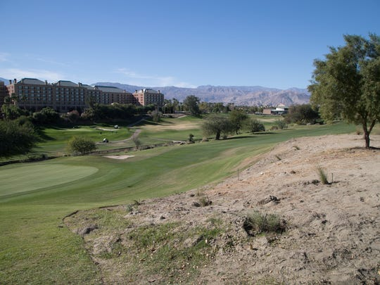 The Indian Wells Golf Resort has earned the Community Environmental Award for 2017 for reduced water usage, December 5, 2017.  Once way the course has conserved water is by removing areas of wild grass or turf and replacing them with mulch.