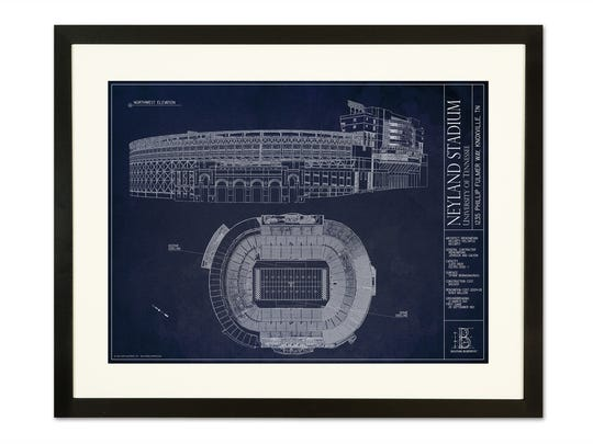 Pictured here is a framed blueprint of Neyland stadium. Ballpark Blueprints has prints of some of the top sports arenas, stadiums or even golf courses.